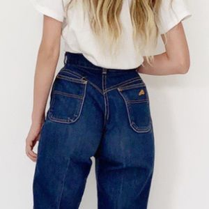 Vintage Chic Jeans Cropped Mom Dark High Waisted